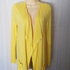 Yellow Drape Pockets Open Front Cardigan